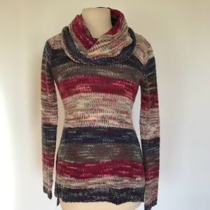 no comment Sweaters - Open Knit Multicolor Striped Tunic Cowl Sweater